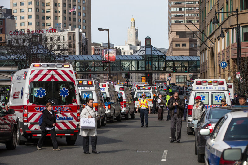 Ambulances lined up following two explosions near the finish line of the Boston Marathon on April 15, 2013. (Aram Boghosian for The Boston Globe via Getty Images)