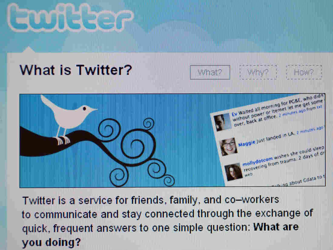 A computer screen displays the homepage of Twitter on April 3, 2009.