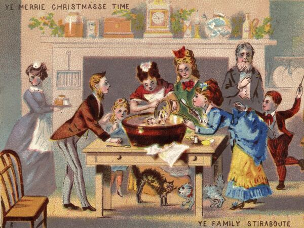 A Victorian family gathers to stir pudding in a Christmas card illustration from the 1870s. The Victorian era put a premium on hospitality, which may have helped create the tradition of leaving out treats for a visiting Santa.