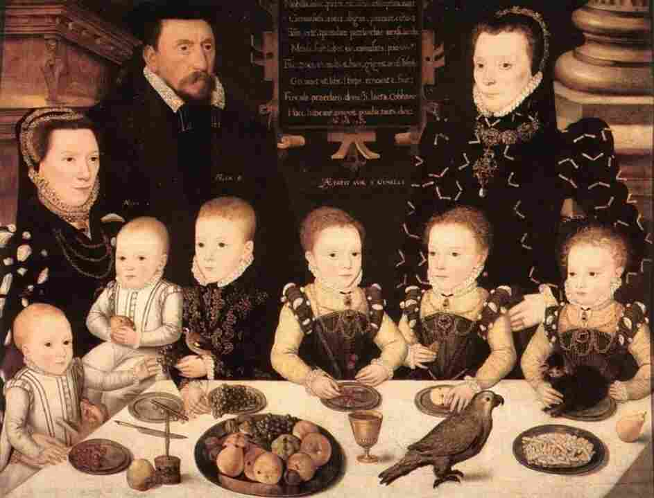 Portrait of William Brooke Baron Cobham and his family, dated 1567. The rise of the American family dinner depended upon the arrival of the dining table, and the dining room, from Europe, where they had been embraced since Elizabethan times.