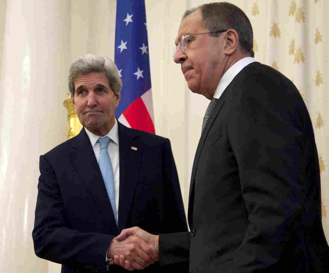 Secretary of State John Kerry shakes hands with Russian Foreign Minister Sergey Lavrov in Moscow on Tuesday.