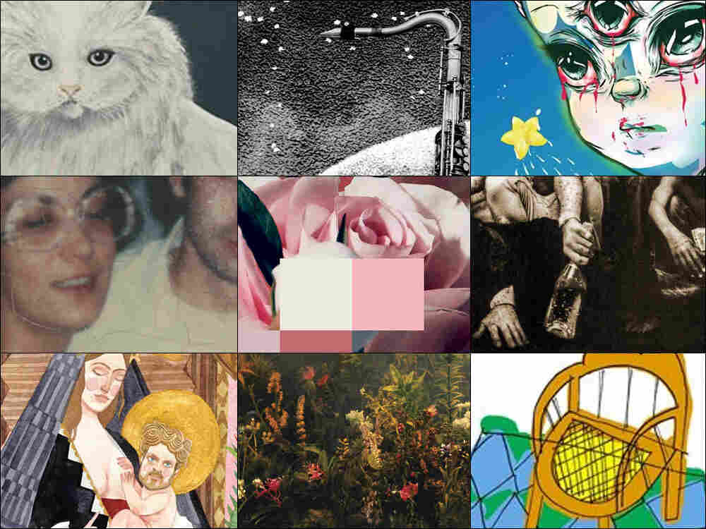 Top row, left to right: Cover art for Wilco, Kamasi Washington and Grimes; Middle row, left to right: Sufjan Stevens, Chvrches and Kendrick Lamar; Bottom row, left to right: Father John Misty, Joanna Newsom, Courtney Barnett