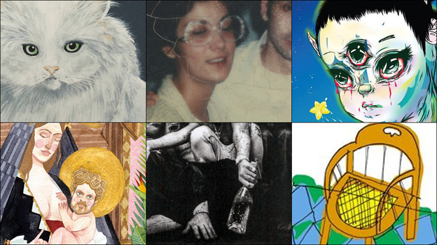 Top row, left to right: Cover art for Wilco, Kamasi Washington and Grimes; Middle row, left to right: Sufjan Stevens, Chvrches and Kendrick Lamar; Bottom row, left to right: Father John Misty, Joanna Newsom, Courtney Barnett (Courtesy of the artists)