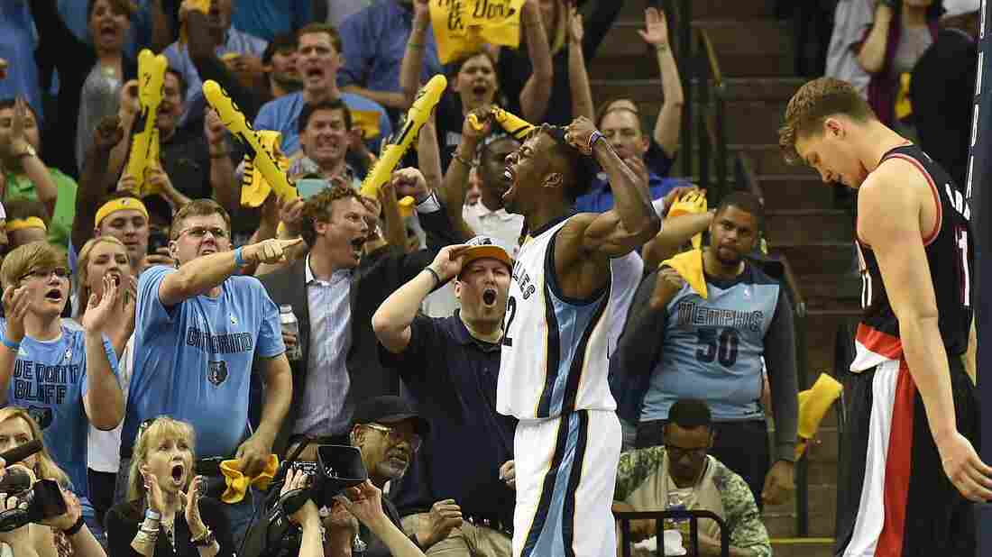 Fans of the Memphis Grizzlies, seen here celebrating with Jeff Green, made only 2.47 grammar mistakes for every 100 words  according to a new study.