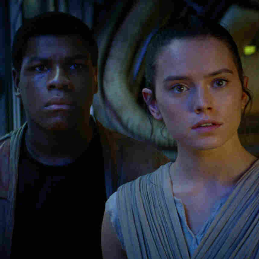 John Boyega and Daisy Ridley in Star Wars: The Force Awakens.