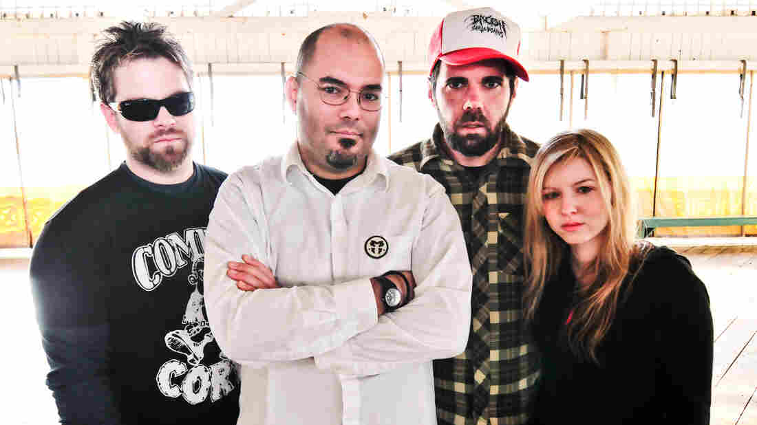 With four planned albums exploring the individual tastes of Agoraphobic Nosebleed's members, vocalist Kat Katz (far right) takes the lead on the sludgy Arc.