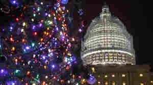 The Capitol dome and Christmas tree illuminated, as Congress worked on a $1.1 trillion spending bill to avoid a government shutdown.