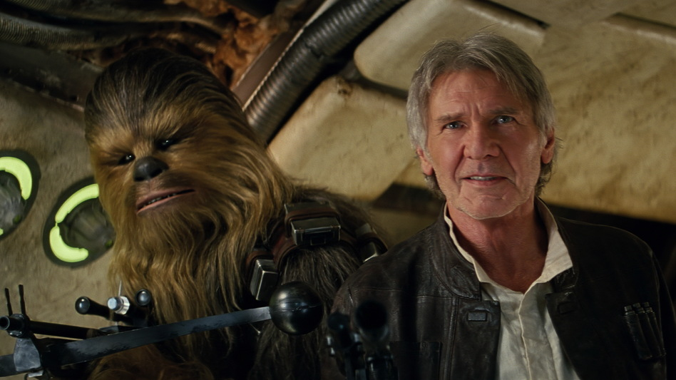 Both Chewbacca (Peter Mayhew) and Han Solo (Harrison Ford) return in <em>Star Wars: The Force Awakens</em>. (Lucasfilm)