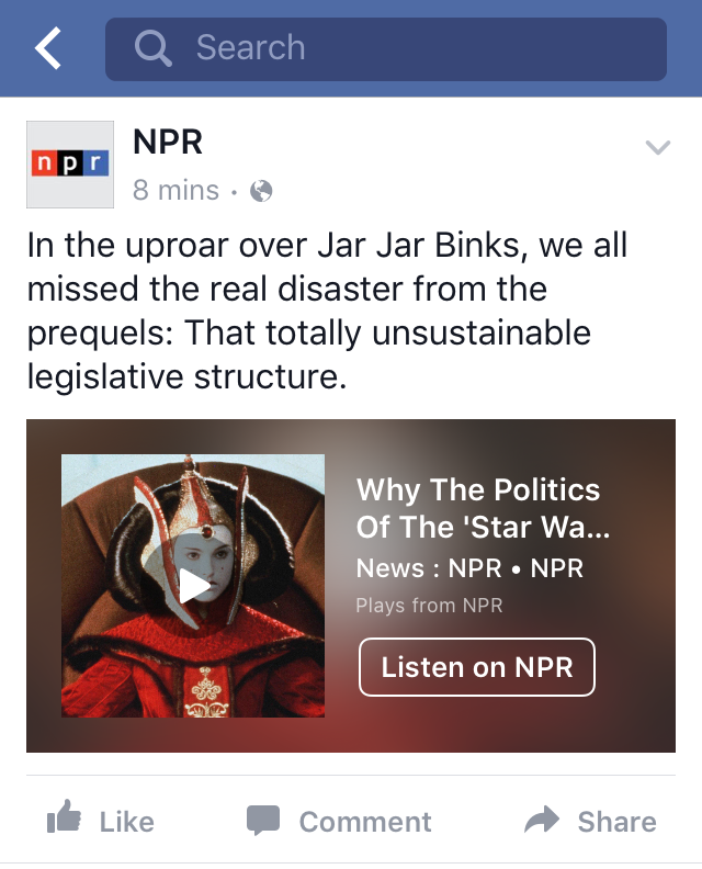The experimental NPR audio player appears in the Facebook iOS app.