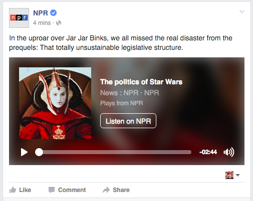 The experimental NPR audio player also appears on Facebook.com.