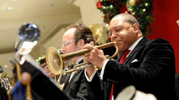 "Trumpeter Wynton Marsalis' version of ""We Three Kings"" goes on Christian McBride's holiday playlist. (Getty Images for Brooks Brothers)"