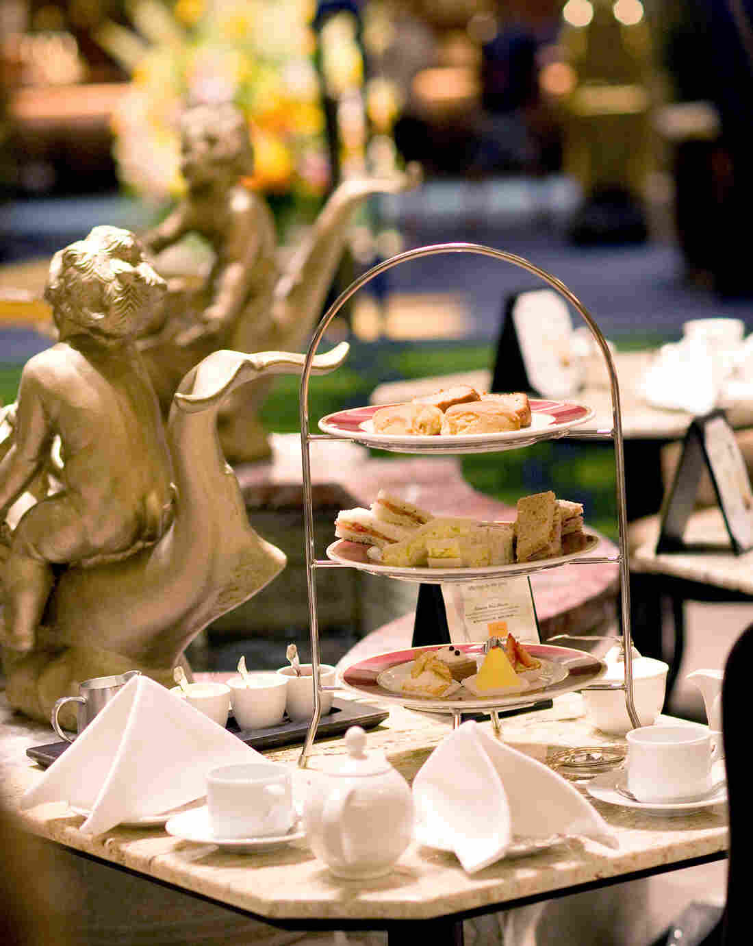 """The Drake Hotel in Chicago holds hour-and-a-half-long Christmas tea sittings. """"It gives people plenty of time to linger,"""" says Lynda Simonetti, the Drake's marketing and PR manager."""