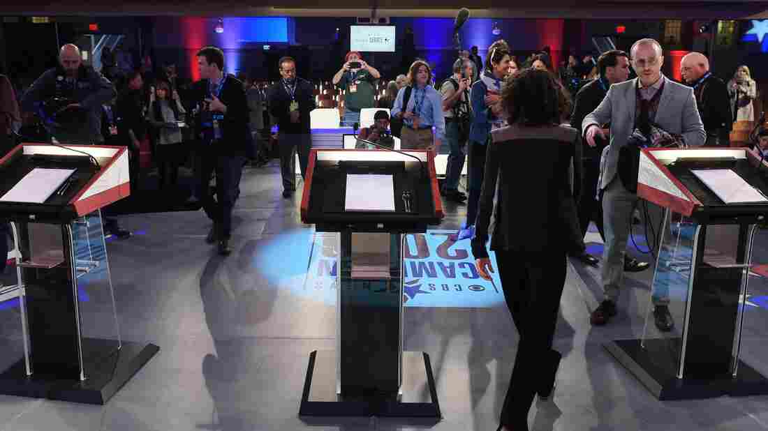 Lights, camera, lecterns: The Democratic presidential candidates will face views like these at Saturday night's debate.