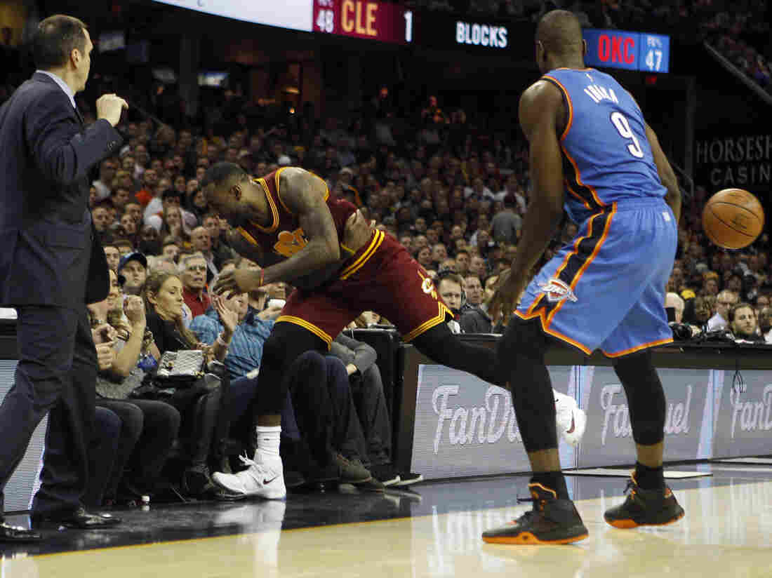 LeBron James a moment before he crashed into Ellie Day while in pursuit of a loose ball during the second half against the Oklahoma City Thunder.
