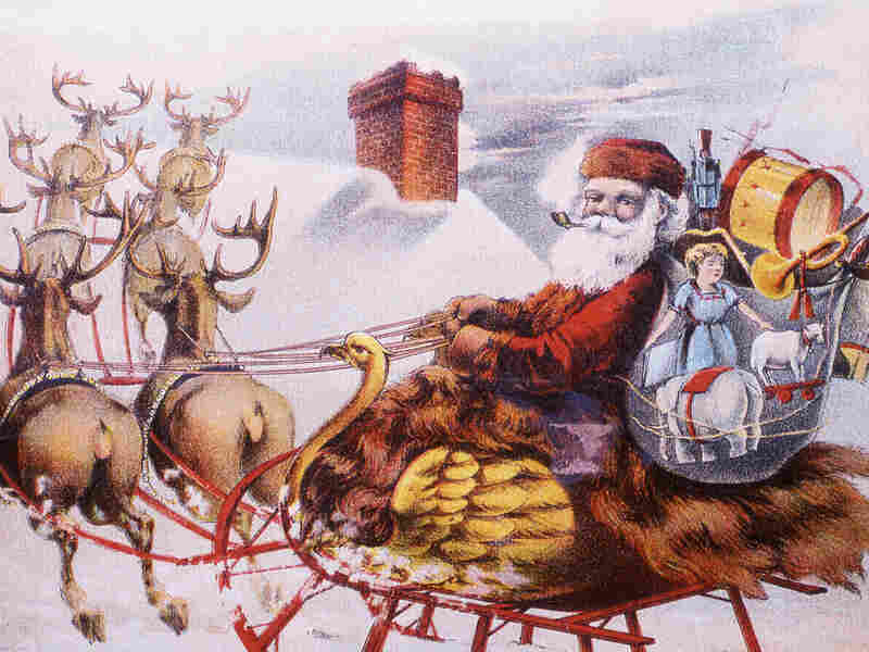 A trade card from the 1880s depicts a Santa Claus figure in a bird-themed sleigh pulled by reindeer as they are about the land on a rooftop to deliver presents from the huge sack of gifts.
