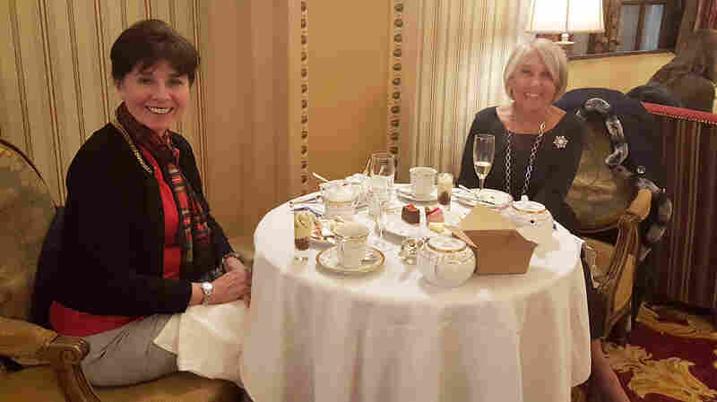 """Sisters Ginger Apyar and Jane Hopson have made Christmas tea at the Willard hotel in D.C. a family tradition. """"You know, you just want some refinement,"""" Hopson says."""