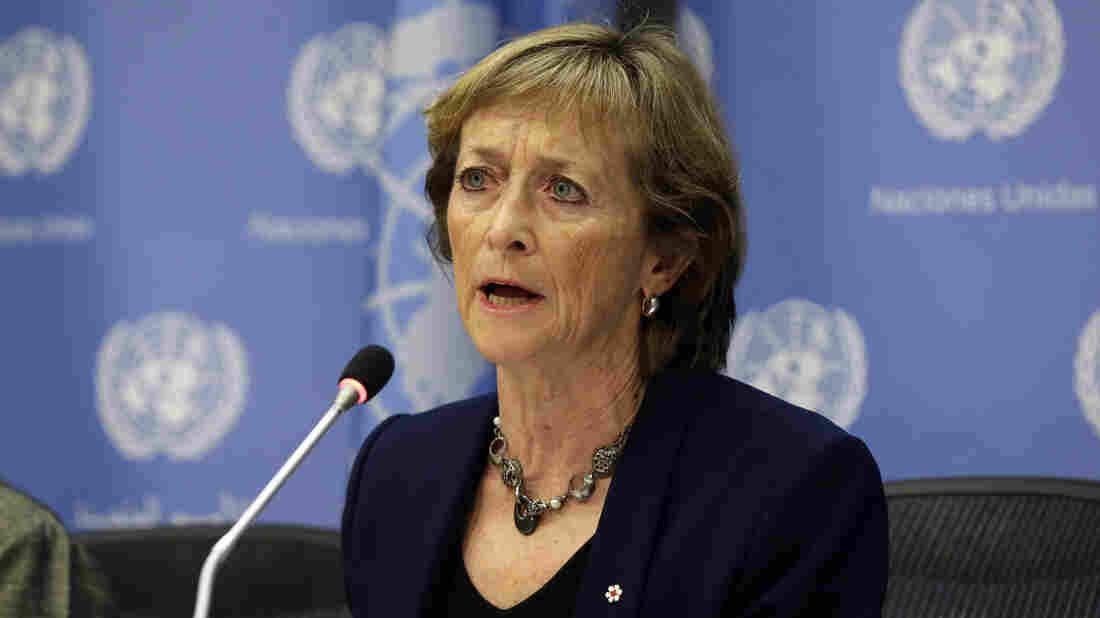 Canadian Judge Marie Deschamps, chair of the Independent Review Panel on U.N. Response to Allegations of Sexual Abuse by Foreign Military Forces, at a news conference at the United Nations on Thursday.
