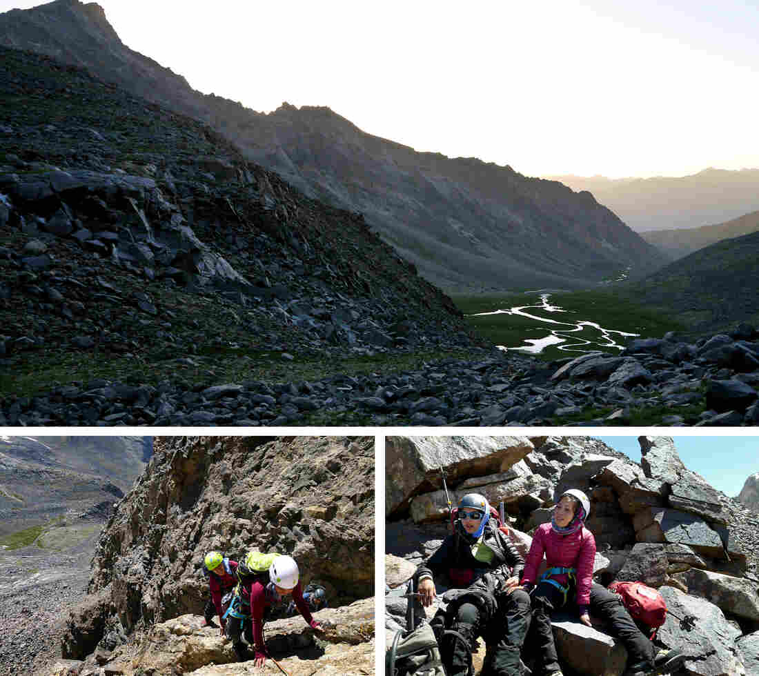 """At top, a view from the expedition base camp toward the valley leading away from Mir Samir. At bottom left, Shopirai Otmonkhel, in white helmet, and Zahra Karimi Nooristani climb up an unnamed mountain. At bottom right, Maryam Azizi and Shopirai Otmonkhel are shown on just below the summit of a mountain they decided to call """"Lion Daughters of Mir Samir."""""""