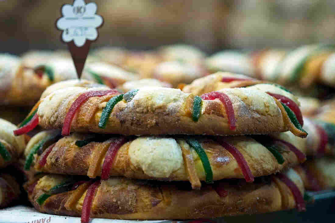 In Mexico, roscas de reyes are made with different kinds of candied fruits. A baby Jesus figurine is hidden inside.