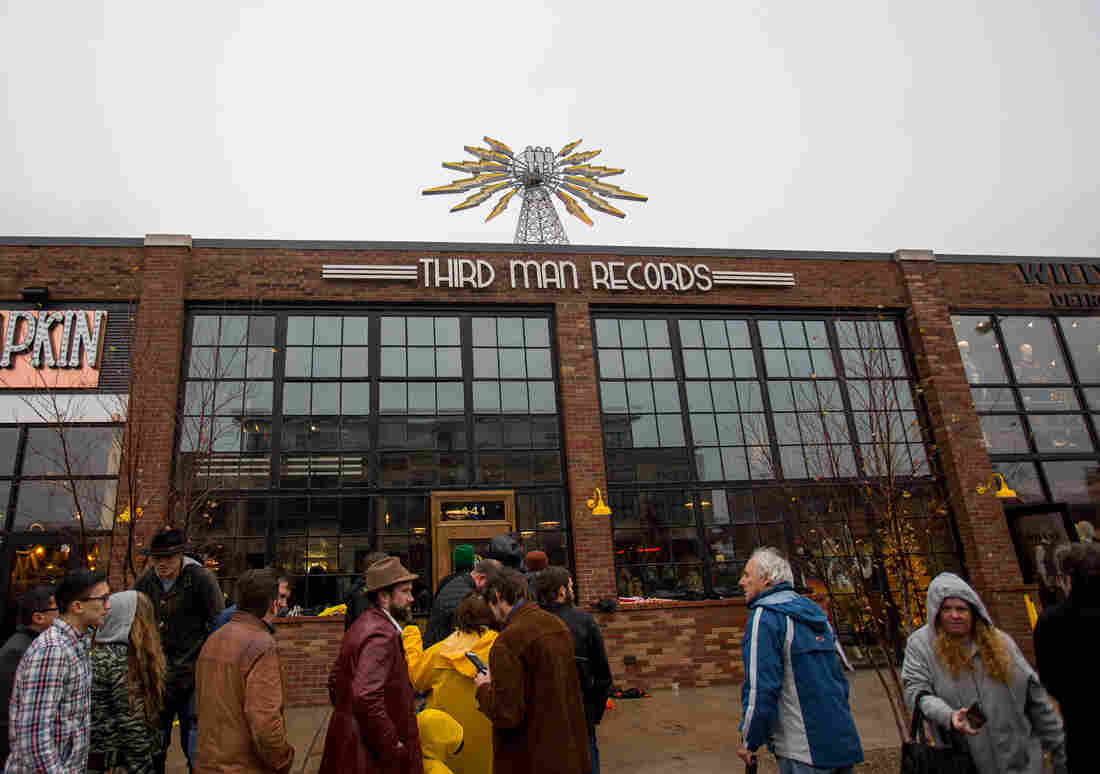 Customers line up outside the Detroit location of Jack White's Third Man Records store on opening day, Nov. 27. Third Man's plans for Detroit also include a record pressing plant.