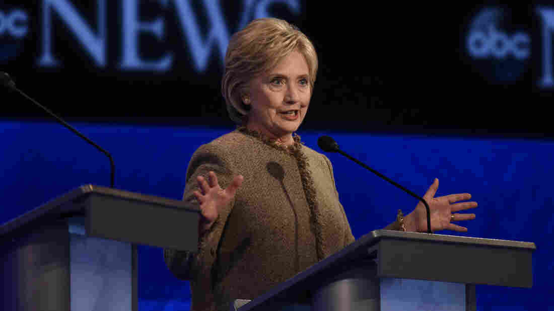Former Secretary of State Hillary Clinton appears at the Democratic presidential debate at St. Anselm College in Manchester, N.H., on Saturday.