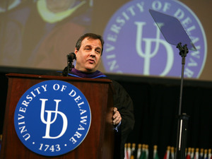 Gov. Chris Christie delivers the commencement address at the University of Delaware in January 2011.
