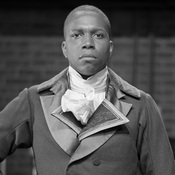 """In material like this, I hope that there is a danger in what we're doing. I hope we are on a razor's edge."" Leslie Odom Jr. gets into character as Aaron Burr on the Hamilton set."