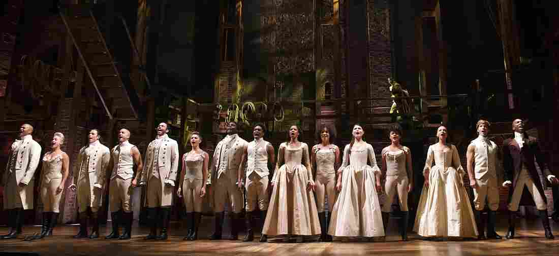 The Broadway cast of Hamilton, including Leslie Odom, Jr. (at far right) on stage at the Richard Rodgers Theatre.