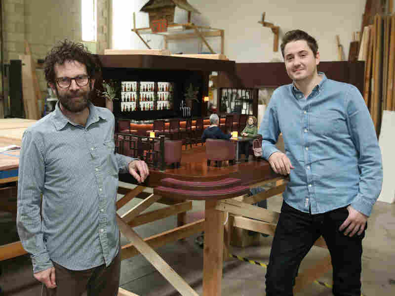 """Co-directors Charlie Kaufman (left) and Duke Johnson, on the set of their film, where everything is built at """"Barbie scale."""""""