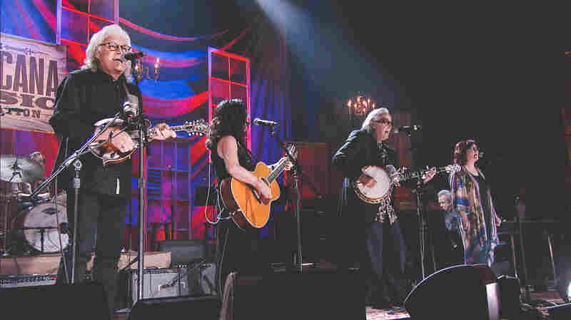 "Ricky Skaggs, Sharon White, and Ry Cooder perform ""Over in the Glory Land"" at the 2015 Americana Music Awards."