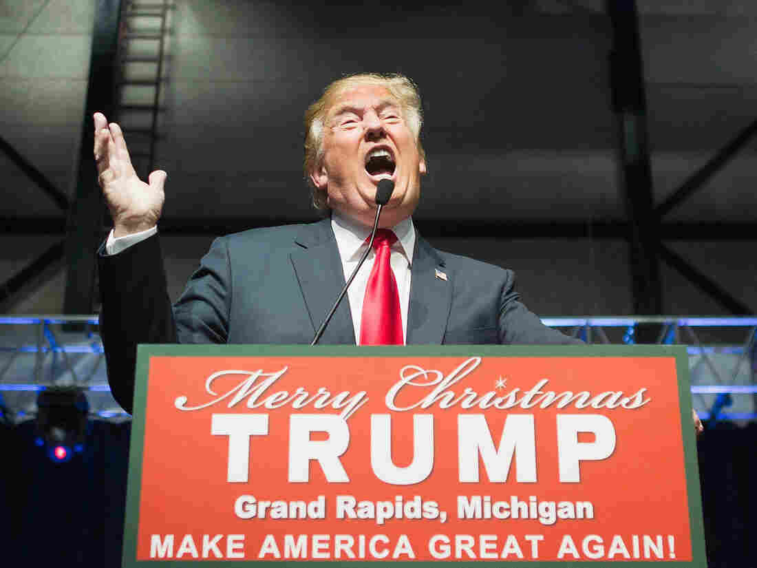 GOP presidential candidate Donald Trump speaks to guests at a campaign rally in Grand Rapids, Mich., on Monday.