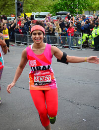 Kiran Gandhi didn't use feminine hygiene products while running the London Marathon, and finished the race with a stain on her leggings — part of her efforts to fight the stigma surrounding menstruation.