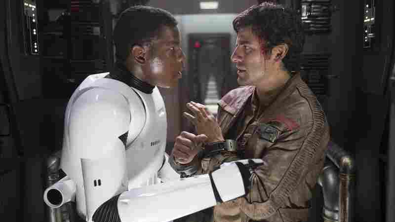 John Boyega and Oscar Isaac in Star Wars: The Force Awakens.