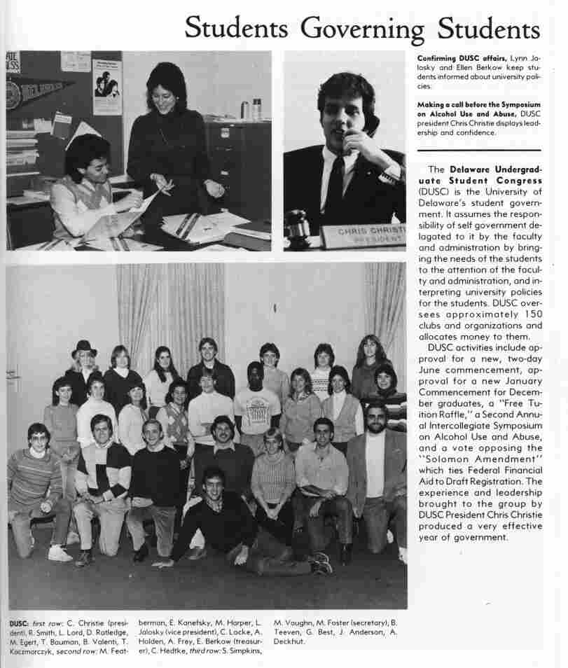 Chris Christie was seen as an effective leader during his time as Undergraduate Student Congress president, as seen in the commentary in the University of Delaware 1984 yearbook.