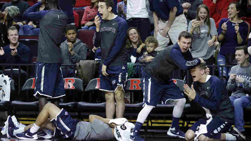 Players on Monmouth University's bench have created over-the-top choreographed celebrations for plays. Here, Tyler Robinson pretends to be dead, while teammates Louie Pillari, Dan Pillari and Greg Noack react in horror.