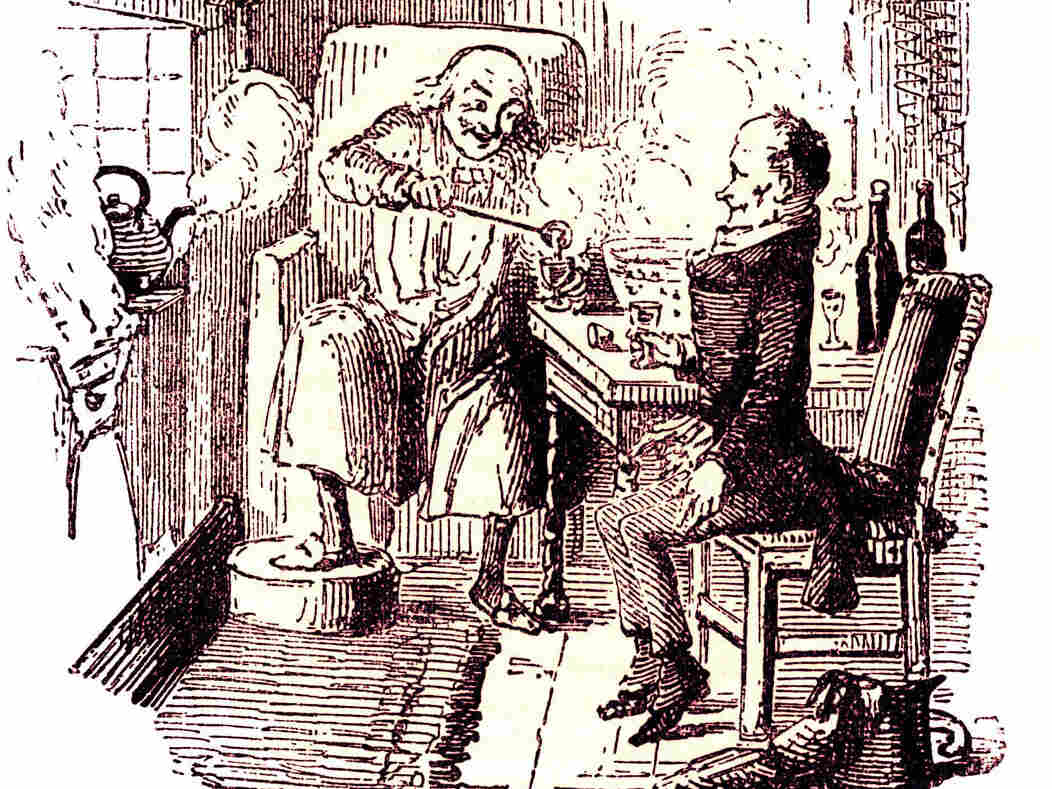 At the end of Charles Dickens' 1843 classic, A Christmas Carol, Ebenezer Scrooge and his long-abused employee, Bob Cratchit, enjoy a mug of Smoking Bishop. It's a drink loaded with English history, politics and class identity. Illustration by John Leech, 1817-1864.