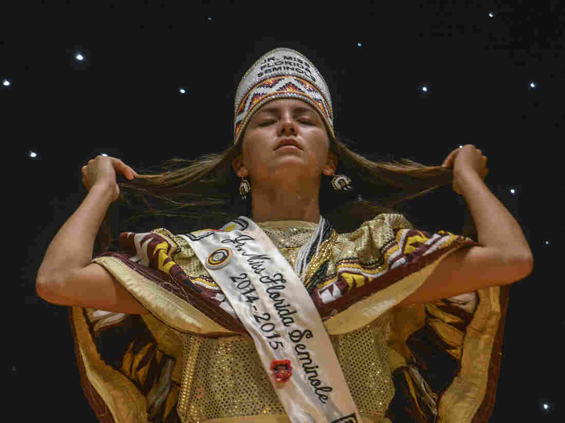 Princess Pageant crowns reflect the importance of patchwork, beadwork, and Seminole symbols.
