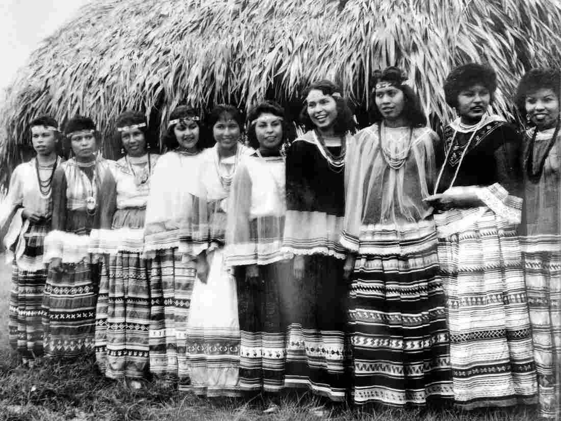 Earlier contestants from the 1960's for the title of Miss Florida Seminole Princess. The dresses have gotten flashier, but traditional cotton patchwork remains an important category in all patchwork competitions.