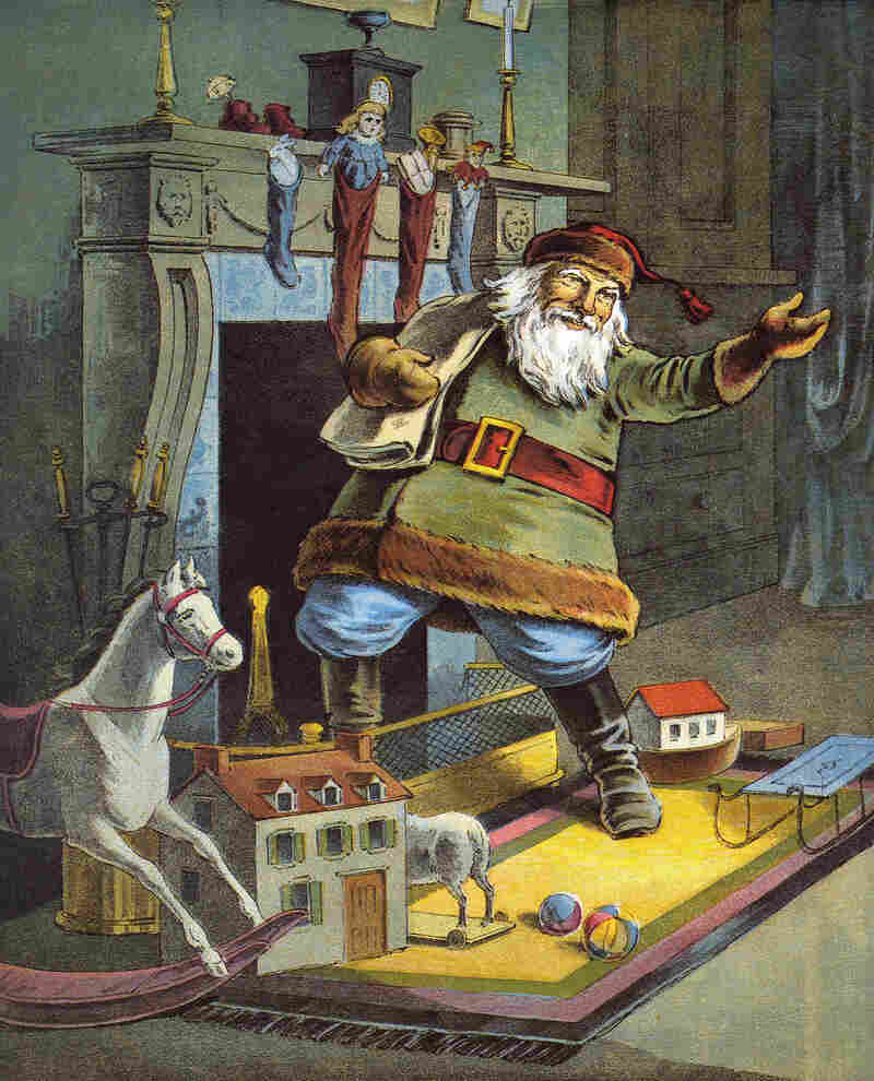 """In the 1823 poem """"A Visit from St. Nicholas"""" Clement Clark Moore describes Santa as a """"jolly old elf."""" Above, a 1918 illustration of the poem, by William Roger Snow."""