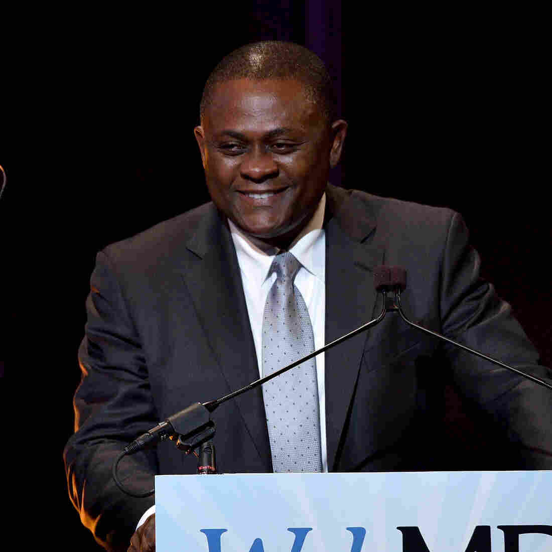 Dr. Bennet Omalu speaks on stage during the 2015 Health Hero Awards hosted by WebMD on Nov. 5 in New York City.