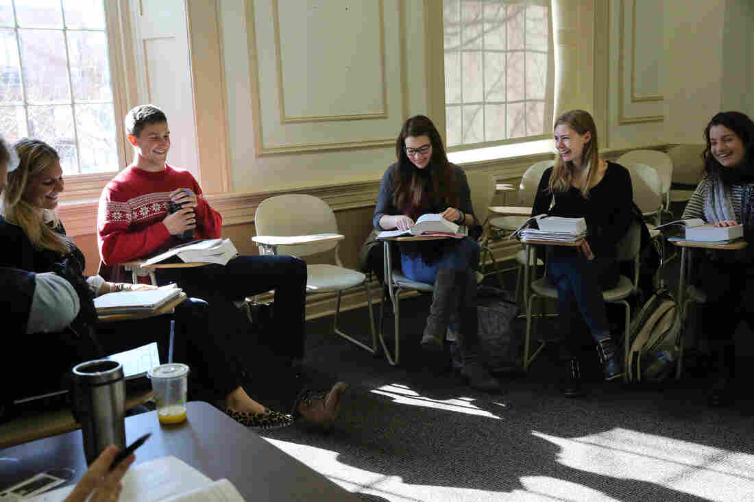 Fuchs in her favorite class this past semester, Romantic Poetry,  taught by Professor Duncan Wu.
