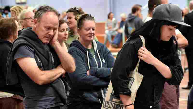 Residents of the evacuated towns of Wye River and Separation Creek are seen at Relief Centre in Apollo Bay, south of Melbourne, Australia, on Saturday.