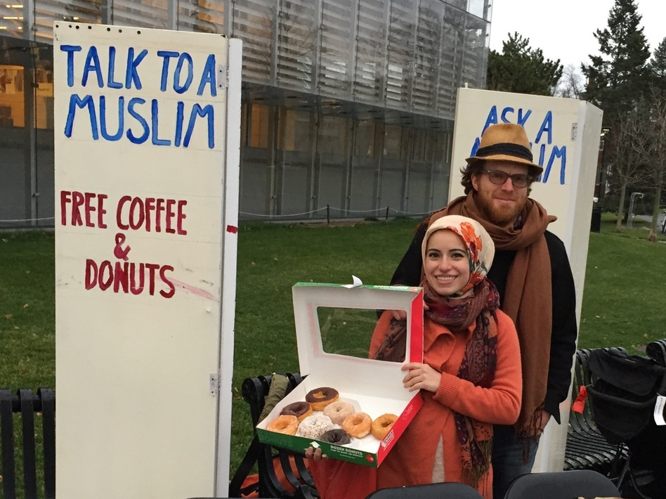 The conversation was edifying and rewarding, Haydar says — but the doughnuts weren't bad, either. (Courtesy of Mona Haydar)