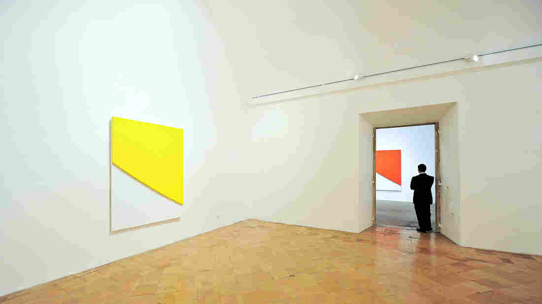 A visitor looks at an installation by artist Ellsworth Kelly on June 18, 2010, as part of an exhibition at Villa Medici, the headquarters of the French Academy in Rome.