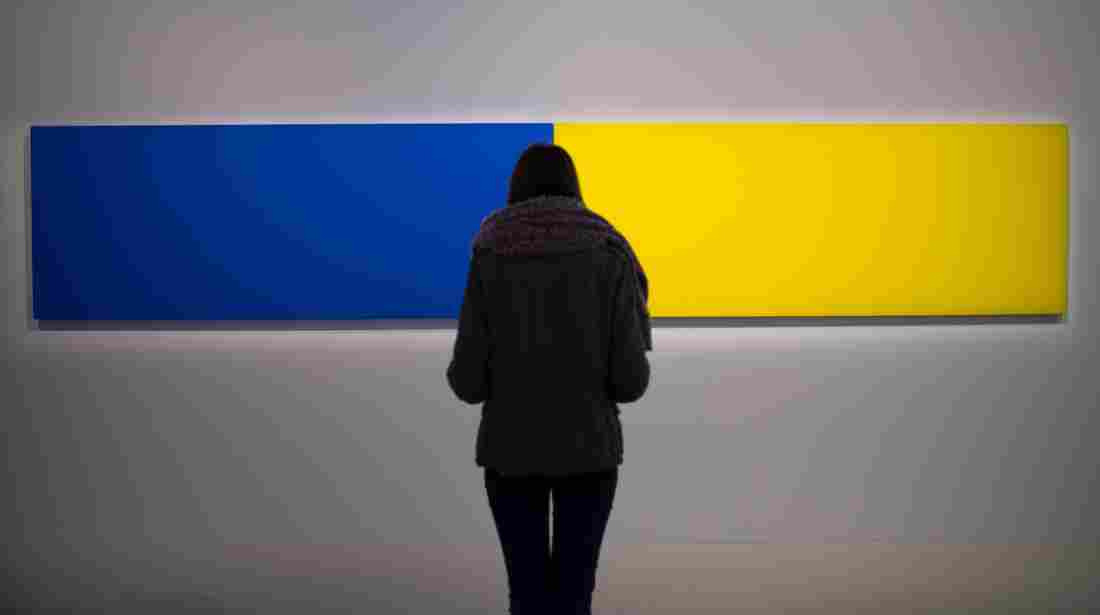 "A visitor looks at the artwork Two Panels — Blue-Yellow (1970) by Ellsworth Kelly as part of the exhibition ""J'aime les panoramas"" (I love the panoramas) at the Museum of European and Mediterranean Civilisations in Marseille, southern France, on Nov. 2."