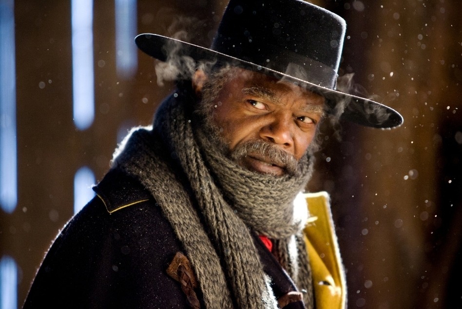 Samuel L. Jackson is one of the stars of Quentin Tarantino's <em>Hateful Eight, </em>which is showing in 100 theaters in 70-millimeter film — a nearly-obsolete premium format. (Andrew Cooper/Courtesy of the Weinstein Company)
