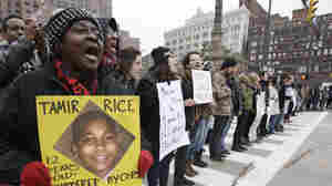 Demonstrators block Public Square in Cleveland during a protest over the police shooting of 12-year-old Tamir Rice in November 2014.