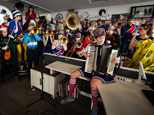 In January, Mucca Pazza set a Tiny Desk record by fitting 23 members onstage.