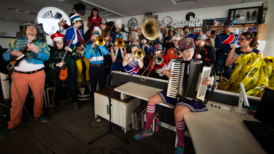 In January, Mucca Pazza set a Tiny Desk record by fitting 23 members onstage. (NPR)