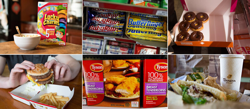 Clockwise from left: General Mills, Nestle, Dunkin Donuts, McDonalds, Tyson Chicken and Panera, among other Big Food companies, made commitments in 2015 to change the way they prepare and procure their food products.